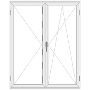 2 varstomų dalių balkono plastikinės durys